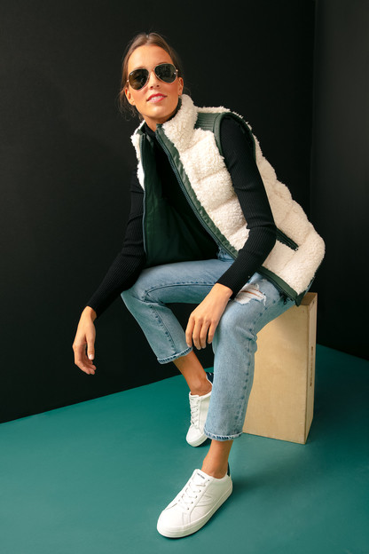 leather and shearling reversible beckham vest