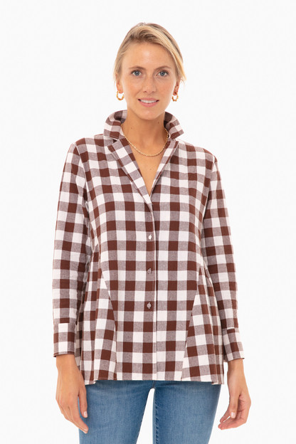 saddle brown gingham scarlett button down