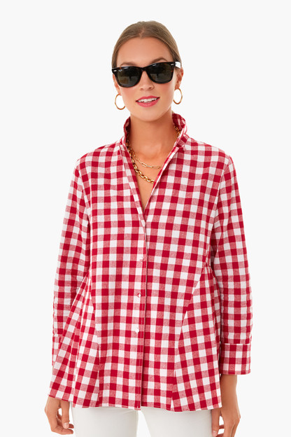 apple red gingham scarlett button down