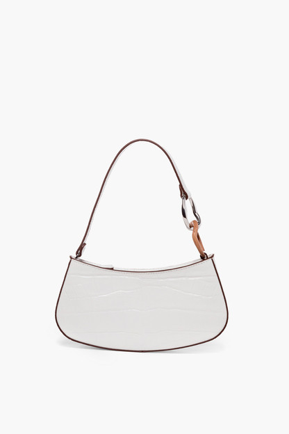 white faux croc ollie bag