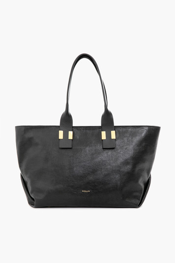 black melbourne embossed lizard tote