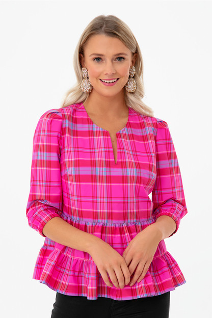 taffeta party plaid tiered top
