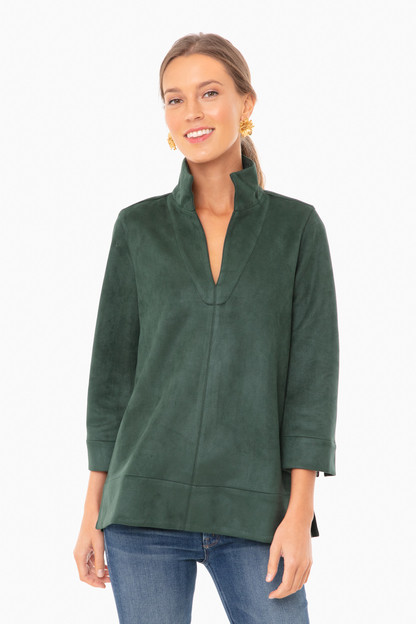 dark green suede margot top