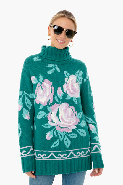 juniper green dahlia turtleneck sweater
