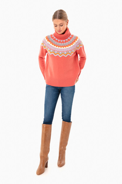coral fair isle aurora turtleneck sweater