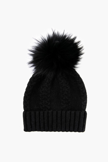 black lux mini cable real fur pom hat