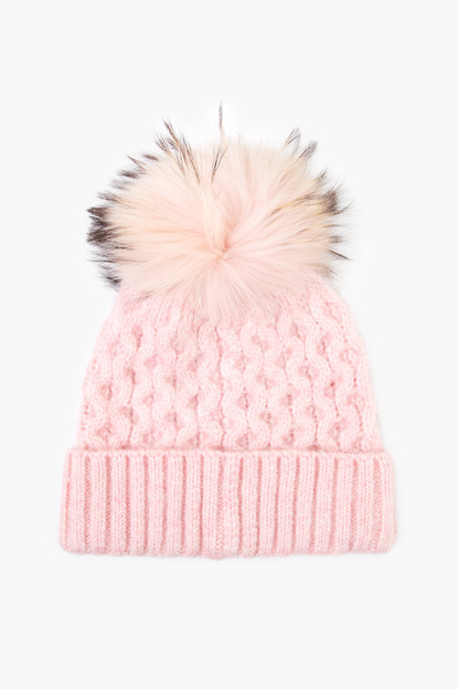 pink winding roads real fur pom hat