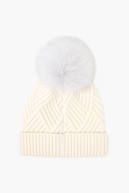 ivory peaks and valleys real fur pom hat