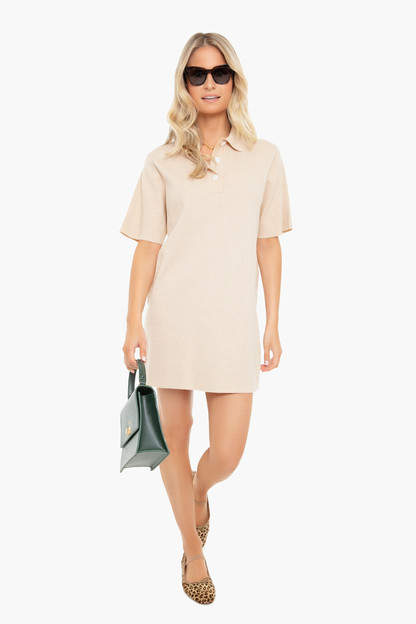 tan channing polo mini dress