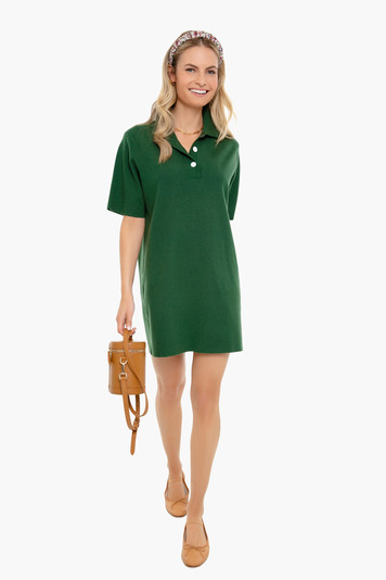 forest green channing polo mini dress