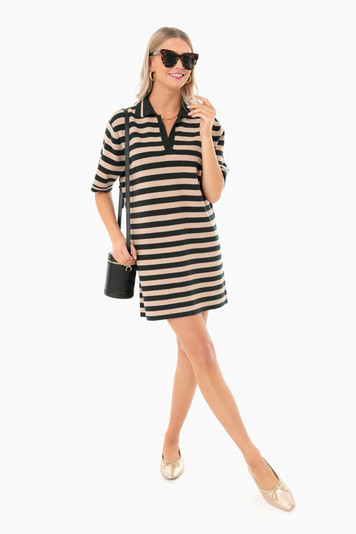 rugby stripe collared dress