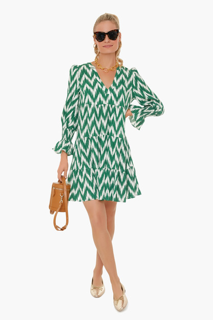 green ikat mini tiered kenzo dress
