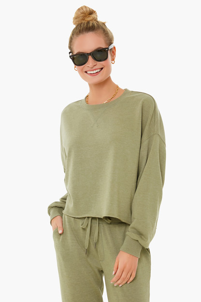 meadow green izzy loop terry sweatshirt