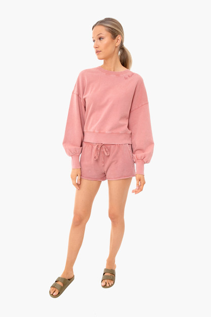 dusty rose lia washed top