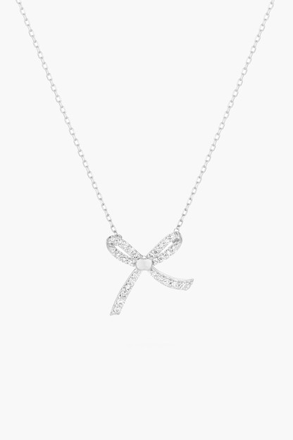 silver tiny pave bow necklace