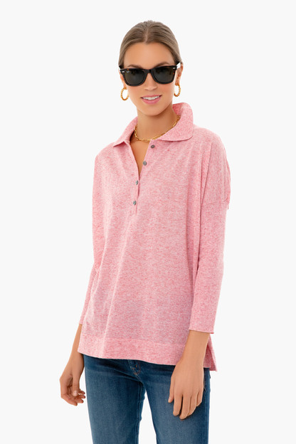 blush clayton knit polo