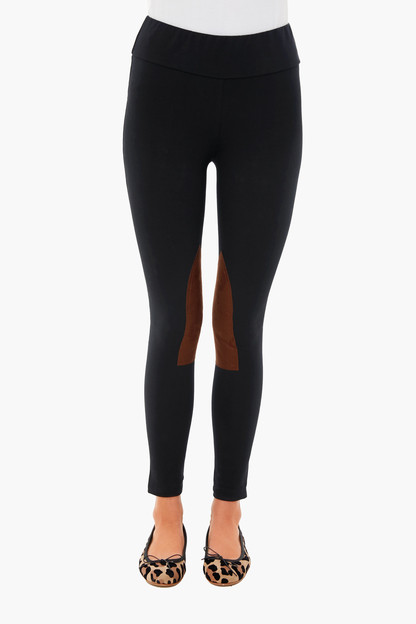 black suede patch riding legging