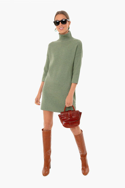 sage green vivianne turtleneck dress