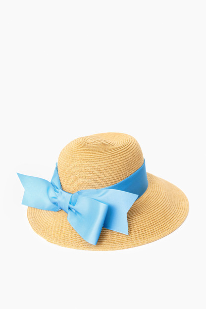 blue packable wide bow sunhat
