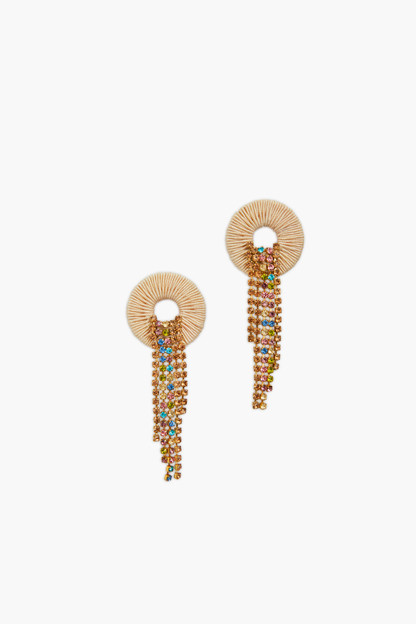 multi sand crystal water earrings