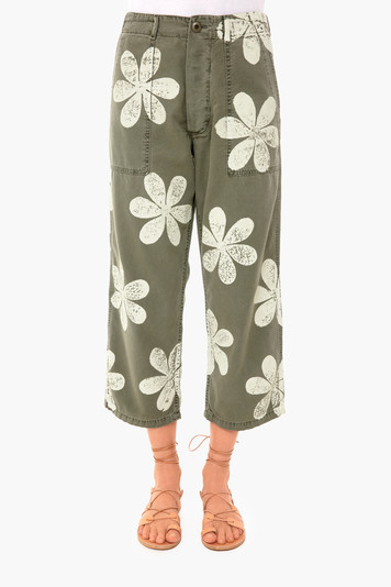 daisy stamp vintage army pant