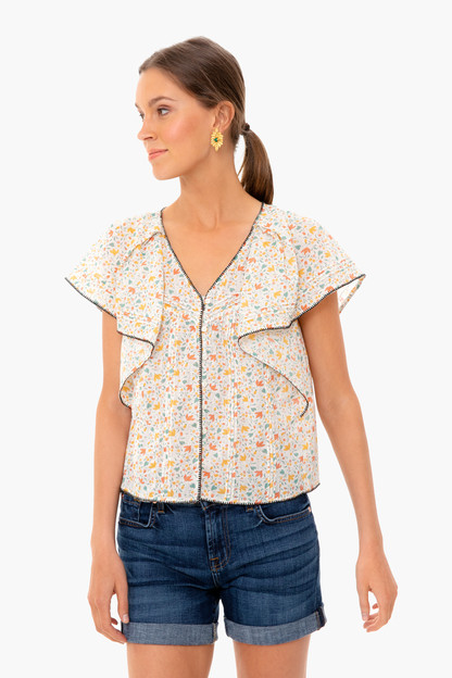 Pastel Floral Whip Stitched Flounce Top