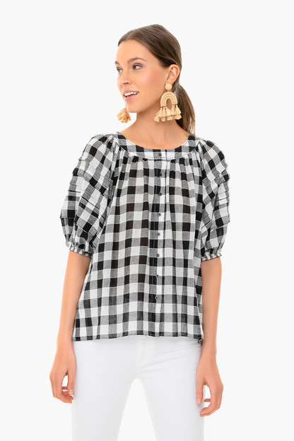 black and cream gingham carriage top