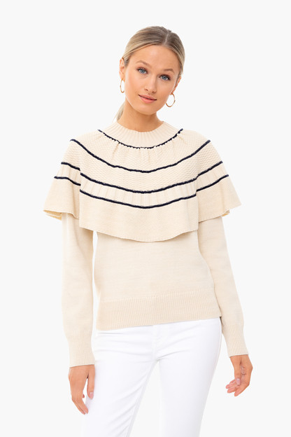 natural and navy textural stitch capelet sweater