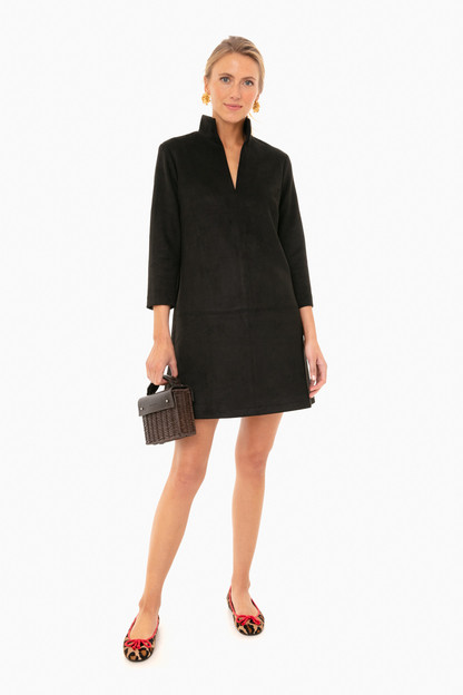 black suede stretch clifton dress