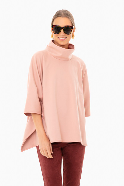 primrose leather trim funnel neck piper poncho