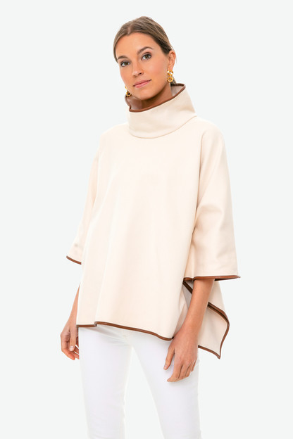 ivory pearl leather trim funnel neck piper poncho