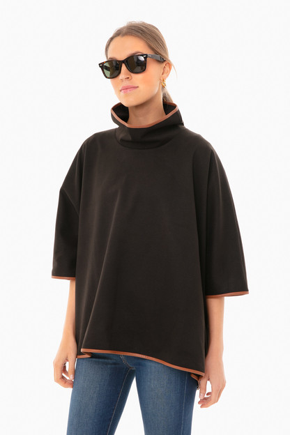 black leather trim funnel neck piper poncho