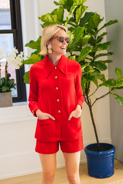 scarlet red jojo knit shirt jacket