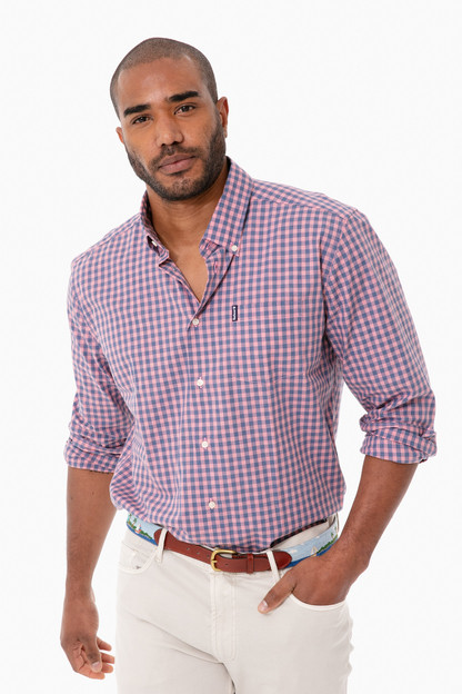 pink gingham 22 tailored button down