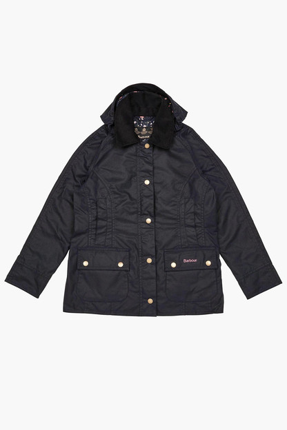 girls hooded beadnell wax jacket