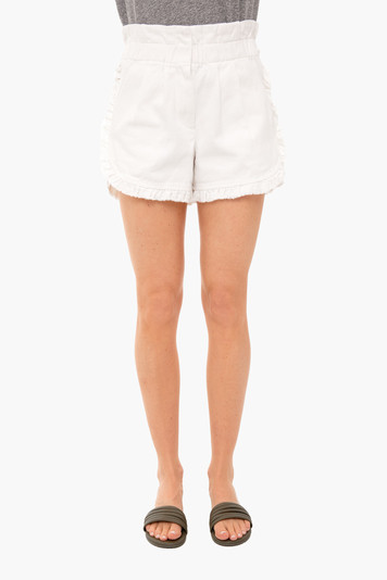 white denim ruffle shorts