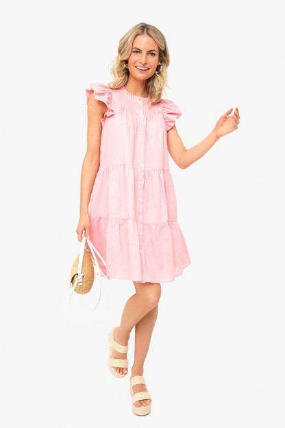 rose shannon scallop button down dress