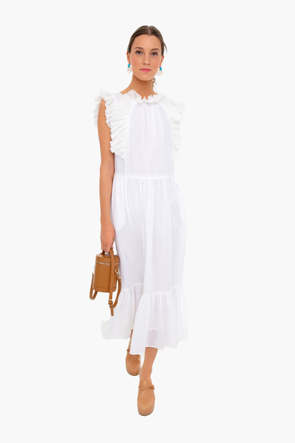white bailey broomstick pleated maxi