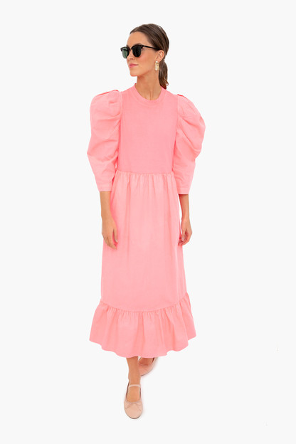 pink neon acid combo long sleeve dress