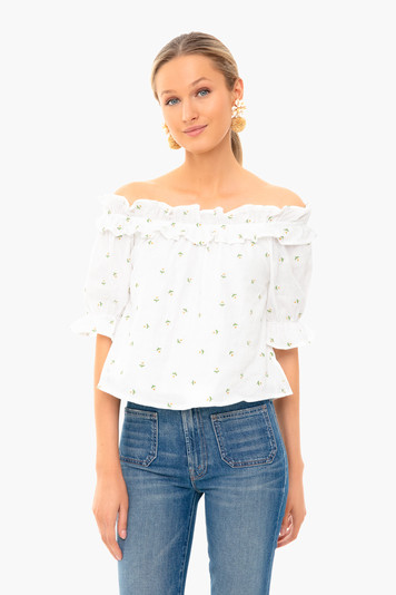 daisy embroidery blossom top