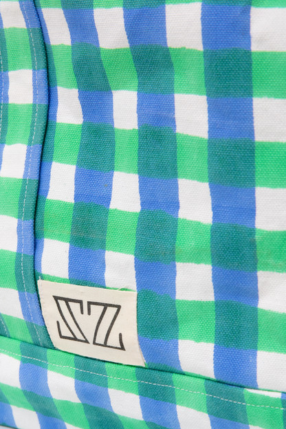 stem green and cornflower blue gingham oversized tote