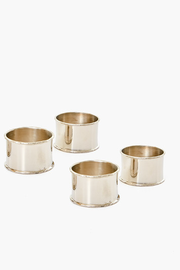 silver rim napkin ring (set of 4)