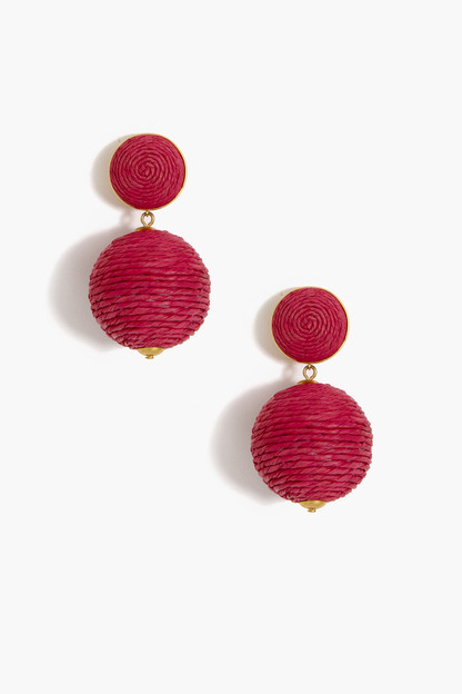 pink raffia lantern earrings