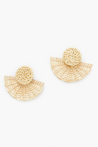 basketweave fan earrings