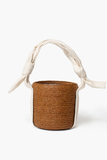 lila raffia bucket bag