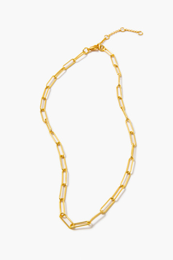 gold thin paperclip chain link necklace