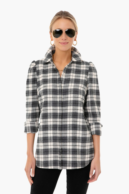 cream and black plaid saranac shirt
