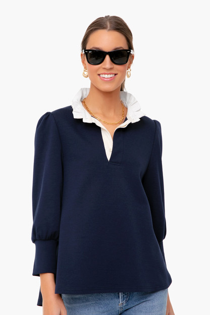 navy charlotte terry top