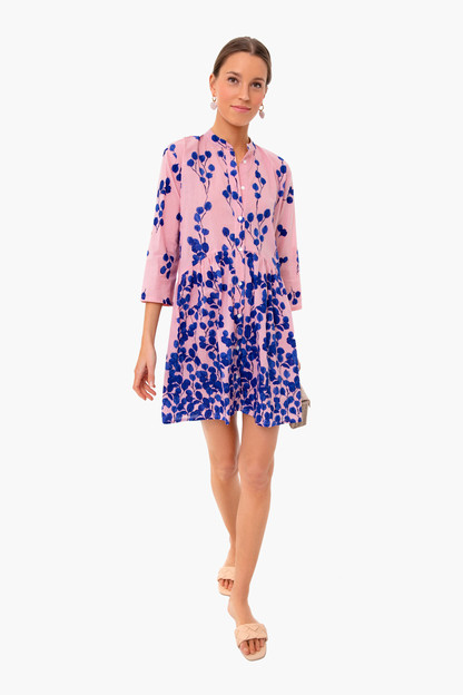 pink leaf alma shirt dress