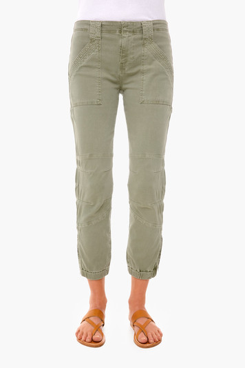 washed military banded bottom trapunto pant